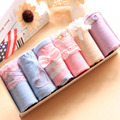 6pcs/lot Women Underwear Panties Girls Cute Pure Cotton Lace Bow Briefs Mixed Color Set Women Underpants Gift Box Packing 6-18