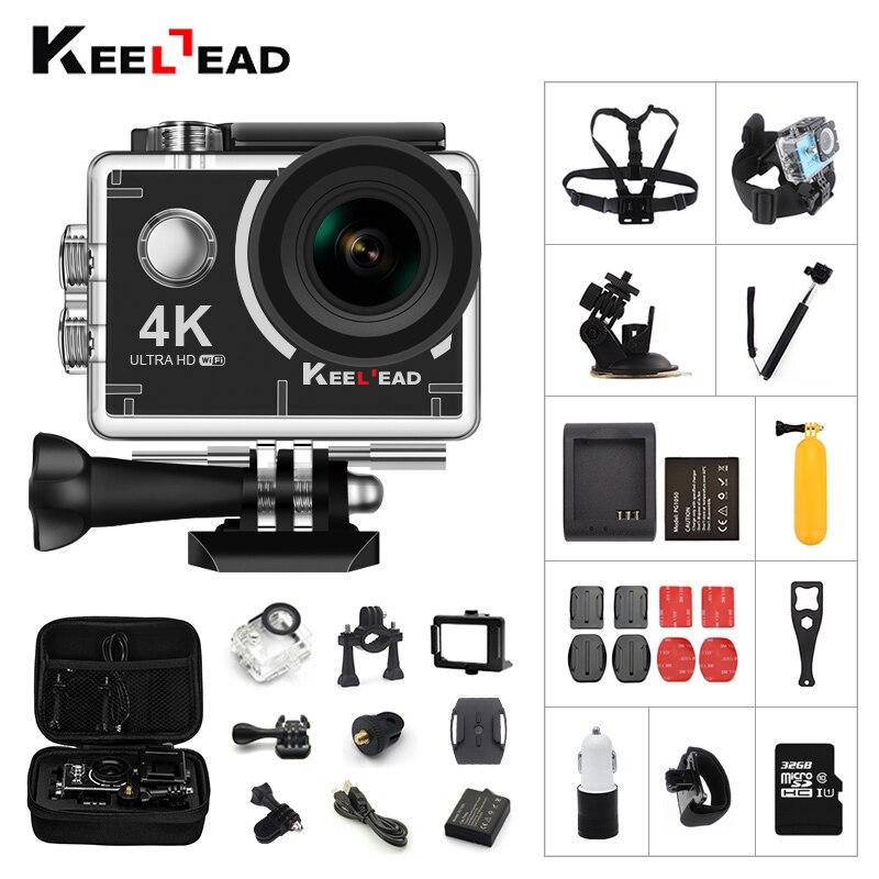 KEELEAD Экшн-камера 4 K P 1080 P 60fps 12MP с Wi Fi 2,0 экран 170 широкоугольный объектив подводный водостойкий камера шлем Спорт cam