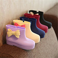 New Cute Cartoon Girls boots Bow PVC Kids Rainboots Spring autumn Ankle Baby Children jelly shoes