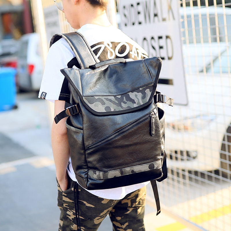 2acd0e129340 VIDENG POLO Fashion Simple Patchwork Large Capacity Leather Camouflage For Travel  Casual Men Daypacks Travle Backpack Mochila-in Backpacks from Luggage ...