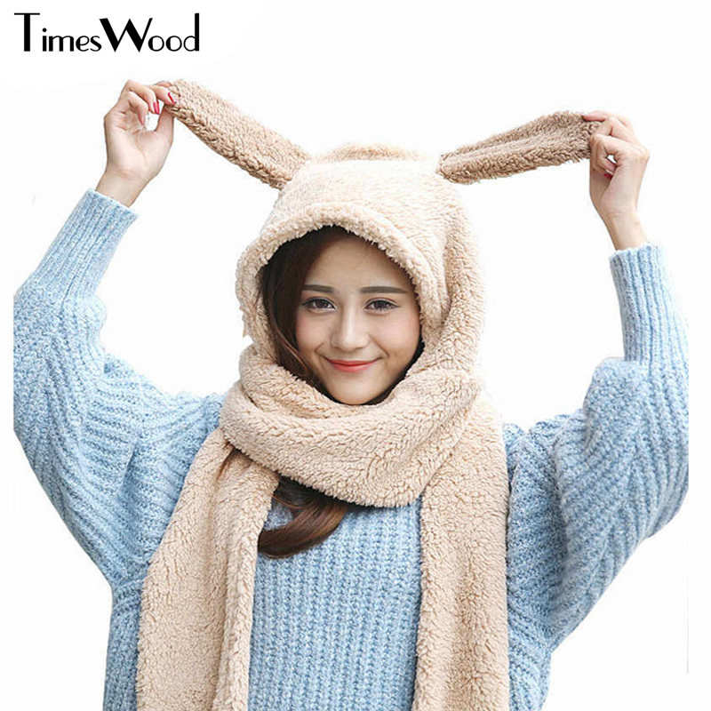 Winter Hat Scarf Glove Set Funny Female Cotton Warm Women Girl Lovely Panda Deer Comfortable Gloves Cap Sets Conjoined Adult