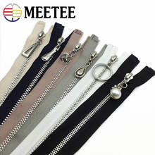 MEETEE 3# 40cm 60cm Open-end Metal Zippers Silver Teeth Sewing Zippers For Clothes Casual Pants DIY Accessories ZK885