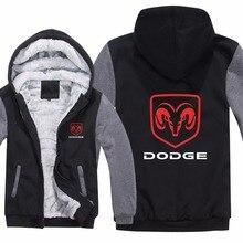 ce6ca74dd46 Dodge Hoodies Jacket Man Coat Winter Men Casual Wool Liner Fleece Thicken  Dodge Logo Sweatshirts Hoody