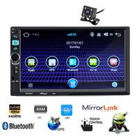 7'' 2 Din Car Radio Bluetooth Touch Screen Car Stereo Mp5 Player Android 8.0 GPS Car Multimedia Player with Rear View Camera USB