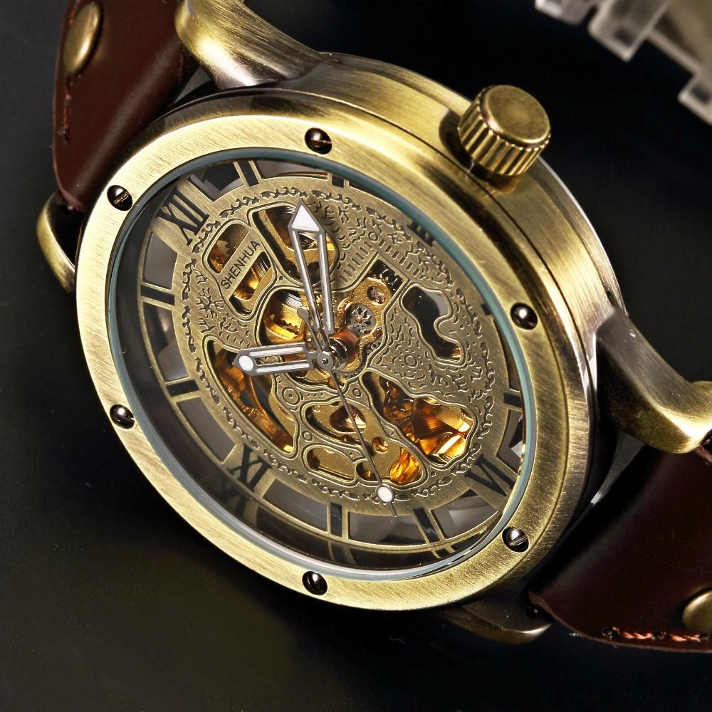 SHENHUA Retro Bronze Skeleton Mechanische Uhr männer Automatische Uhren Leder Sport Top Luxus Marke Uhren Relogio Masculino