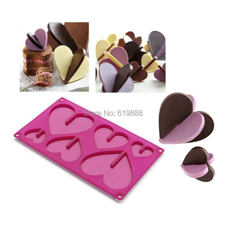 B041 Silicone Cake Stencil 3D heart Shape Molds Sweet <font><b>Chocolate</b></font> Molds Ice Cream Muffin Pan Non-stick 6 <font><b>cups</b></font> Bakeware Tools