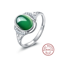 Green Sapphire Vintage Jewelry Women Men Party Ring Anel Emerald White CZ Diamond 18K White Gold