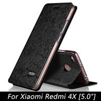 Original Mofi Brand Flip Leather Cover For Xiaomi Redmi 4X Case Stand Holder Case For Xiaomi