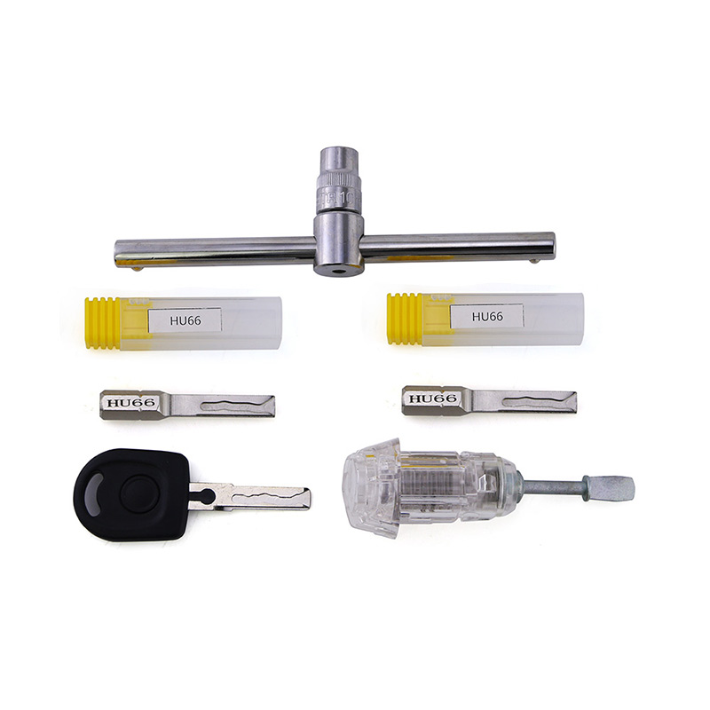 Free Shipping! Super Locksmith Tool Sets HU66 Transparent Practicing Car Lock +HU66 Emergency Keys for Car Maintanance Tools top rated ktag k tag v6 070 car ecu performance tuning tool ktag v2 13 car programming tool master version dhl free shipping