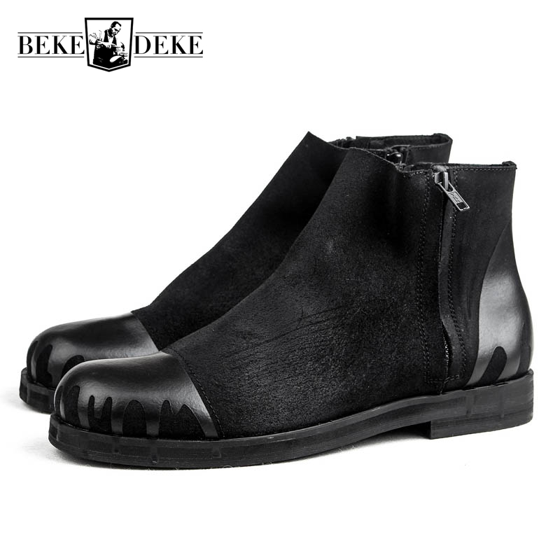 Vintage England Style Mens Genuine Leather Cow Side Zipper Winter Round Toe Motorcycle Boots Male Ankle Boots Shoes Sewing Black top quality england style retro mens cow genuine leather brogue shoes male casual shoes lace up round toe breathable wing tip