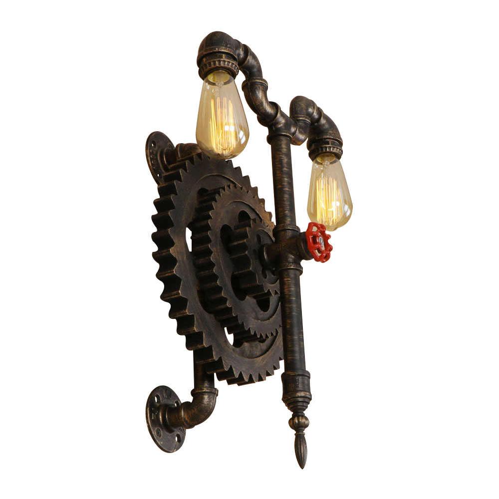 Винтаж железа промышленного ветер шестерни настенный светильник E27 светодиодный 220 V водопровод креативные светильники бра для спальни гостиной Холл отеля