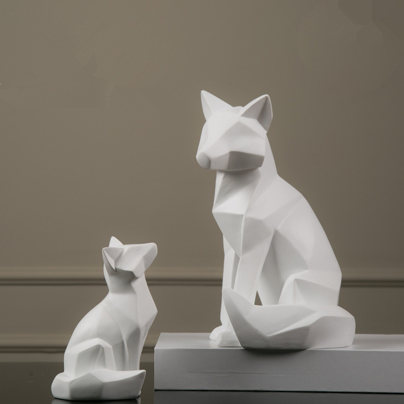 Nordic Style White Abstract Geometric Fox Sculpture Home Decor Ornaments Modern Simple Resin Animal Statues Christmas Gifts