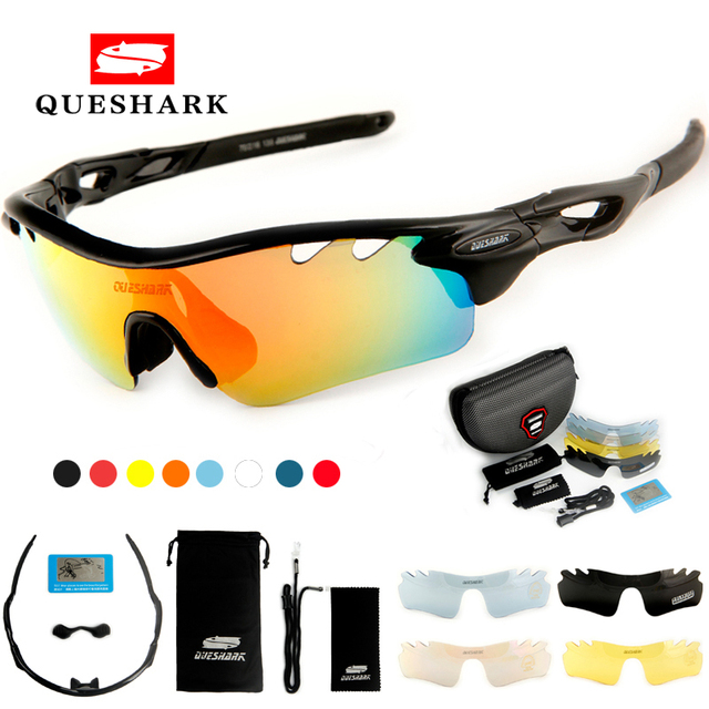 9c4a85714958 Queshark Polarized Cycling Glasses Bike Goggles Sports Bicycle Sunglasses  TR90 UV400 5Lens Outdoor Hiking Riding Fishing