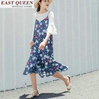 women summer dress 2018 floral dots printed hobo chiffon combishort vest vestido sleeveless sundress lacework ruffles DD649 a