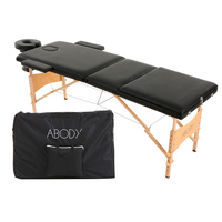 US Stock Abody 3 Fold Portable Massager Table 84''L Therapy Adjustable Massage Bed Facial SPA Bed Tattoo Beauty Salon Device