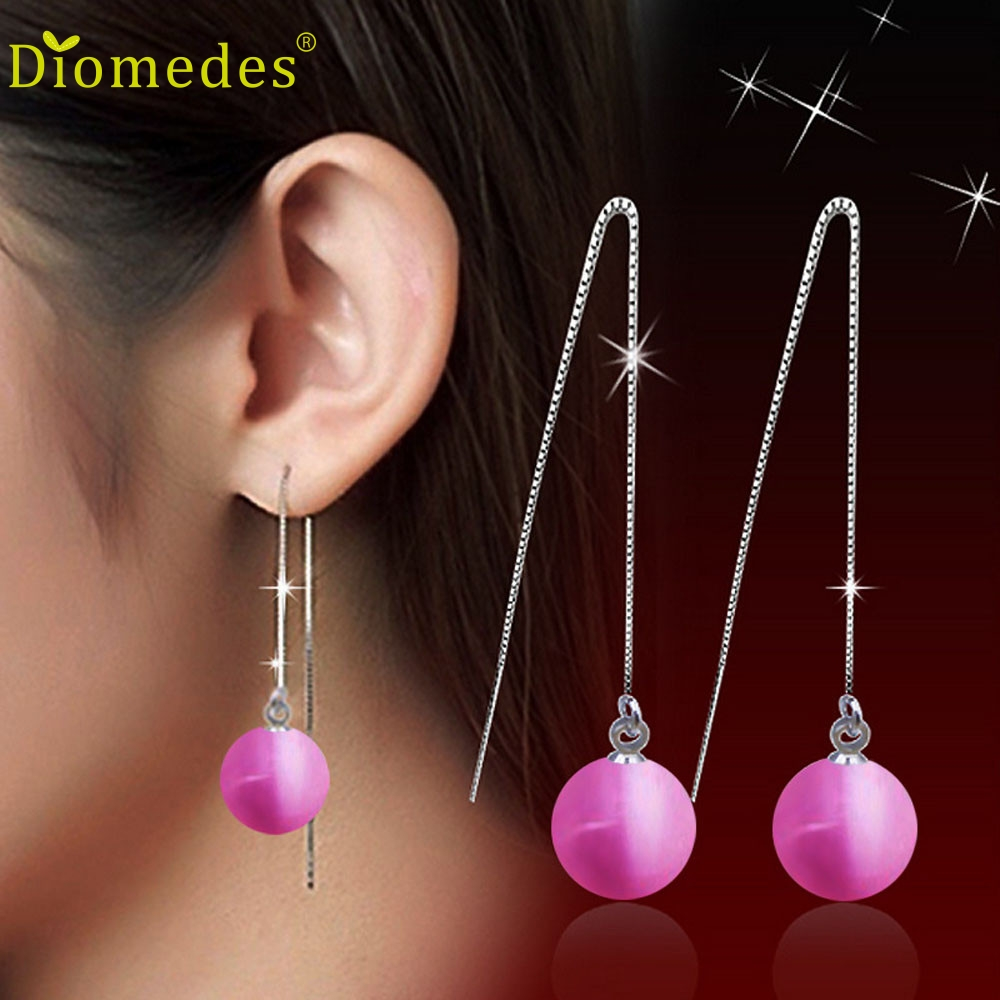 Diomedes Hot Sales Women Fashion Pink Color Jewelry Pearl Earrings Plate  Element Crystals Flower Stud Earrings