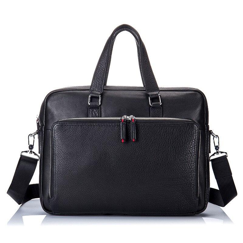 Briefcase Business File Portfolio Leather Real Cow Leather Bag Men Messenger Bags Notebook Maleta De Ferramenta Men's Bag Black цена