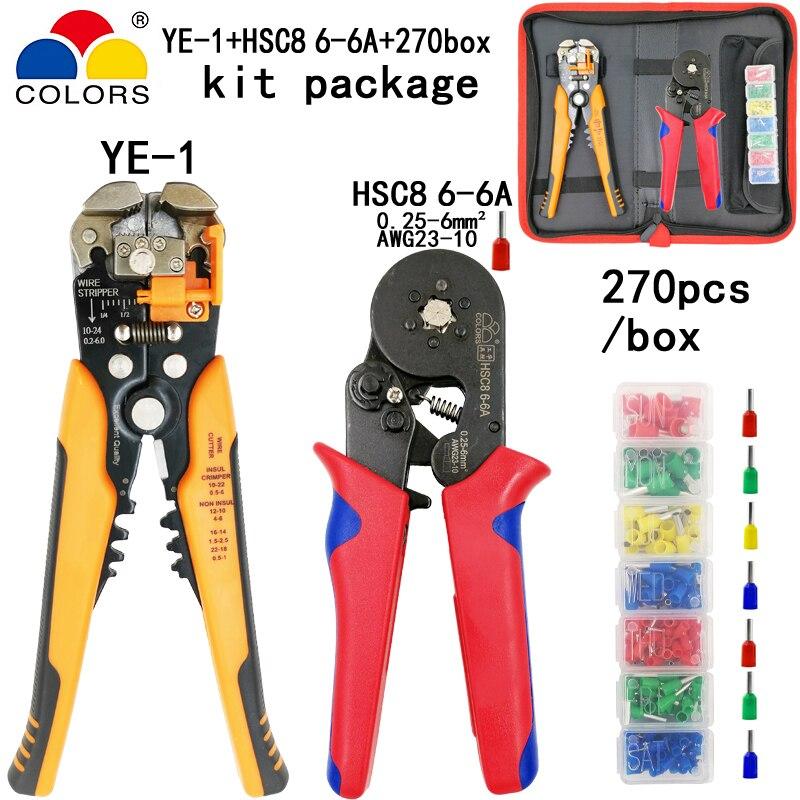 Werkzeuge Kit Crimpen Zangen Hsc8 6-6a 0,25-6mm2 Abisolieren Schneiden Draht Zangen 270 Teile/schachtel Rohr Terminal Anzug Elektrische Klemme Werkzeuge Handwerkzeuge