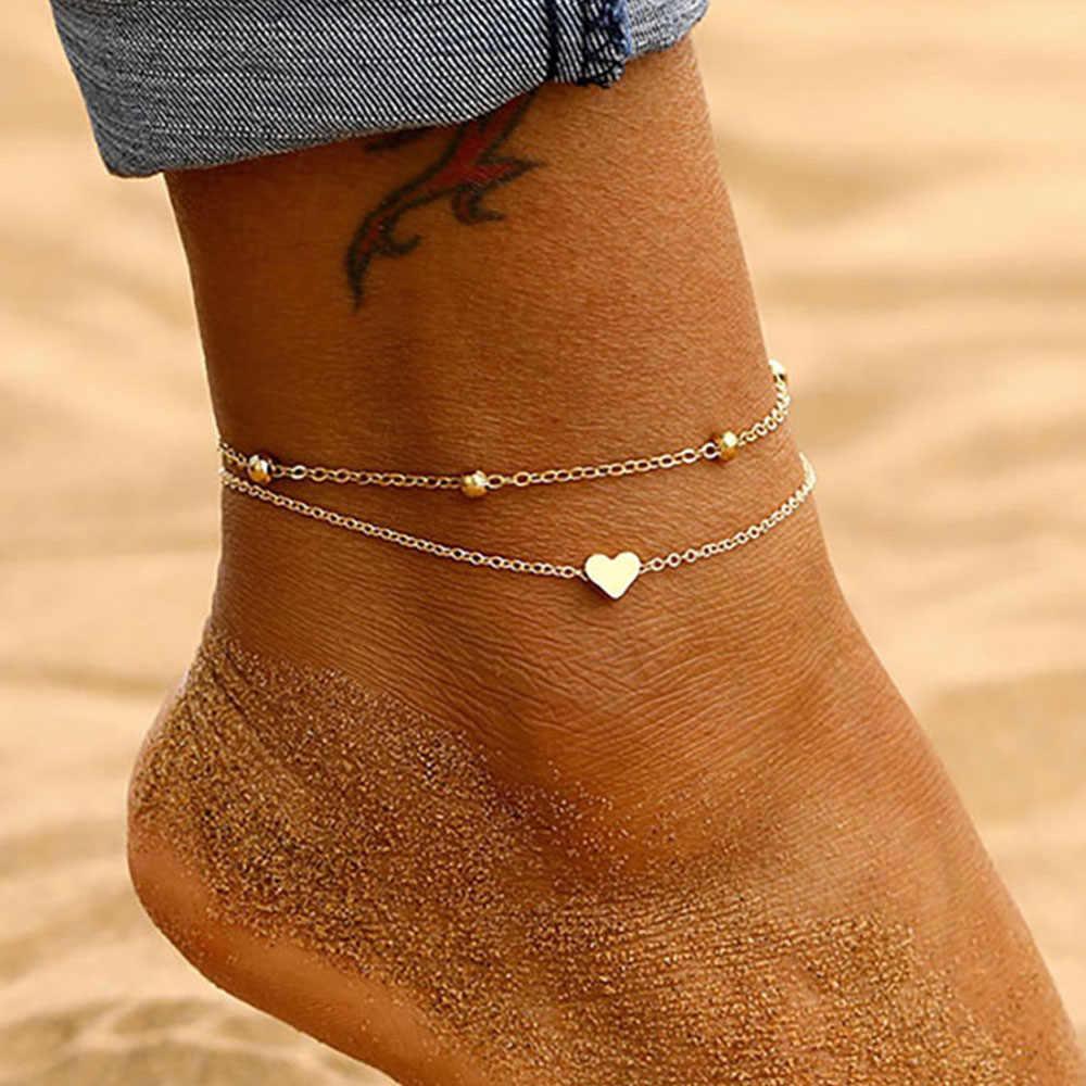 Iparam女性のアンクレットボヘミアンレイヤードハートアンクレット2020夏サンダルビーチアンクレットに足足首ブレスレット女性の脚チェーン
