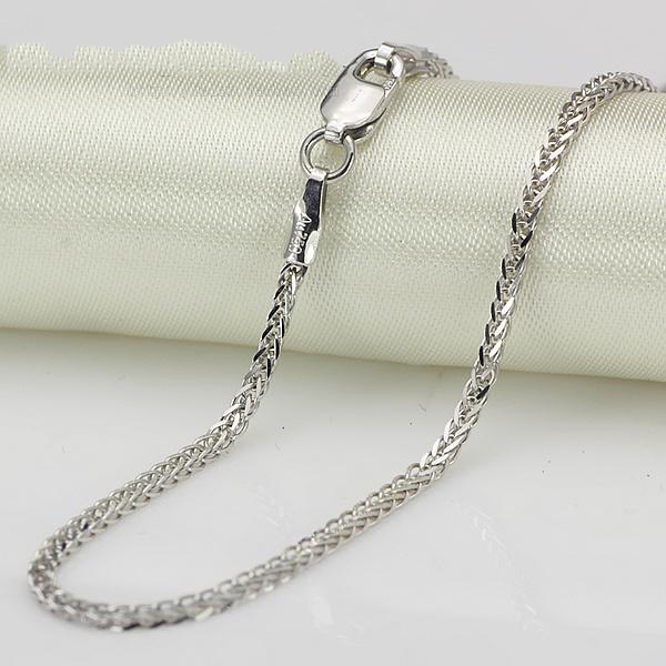 1.4mmW  Thick Genuine 18K White Gold Necklace Wheat For Men and female Style Bold necklace 40/43/45/50cm  2019