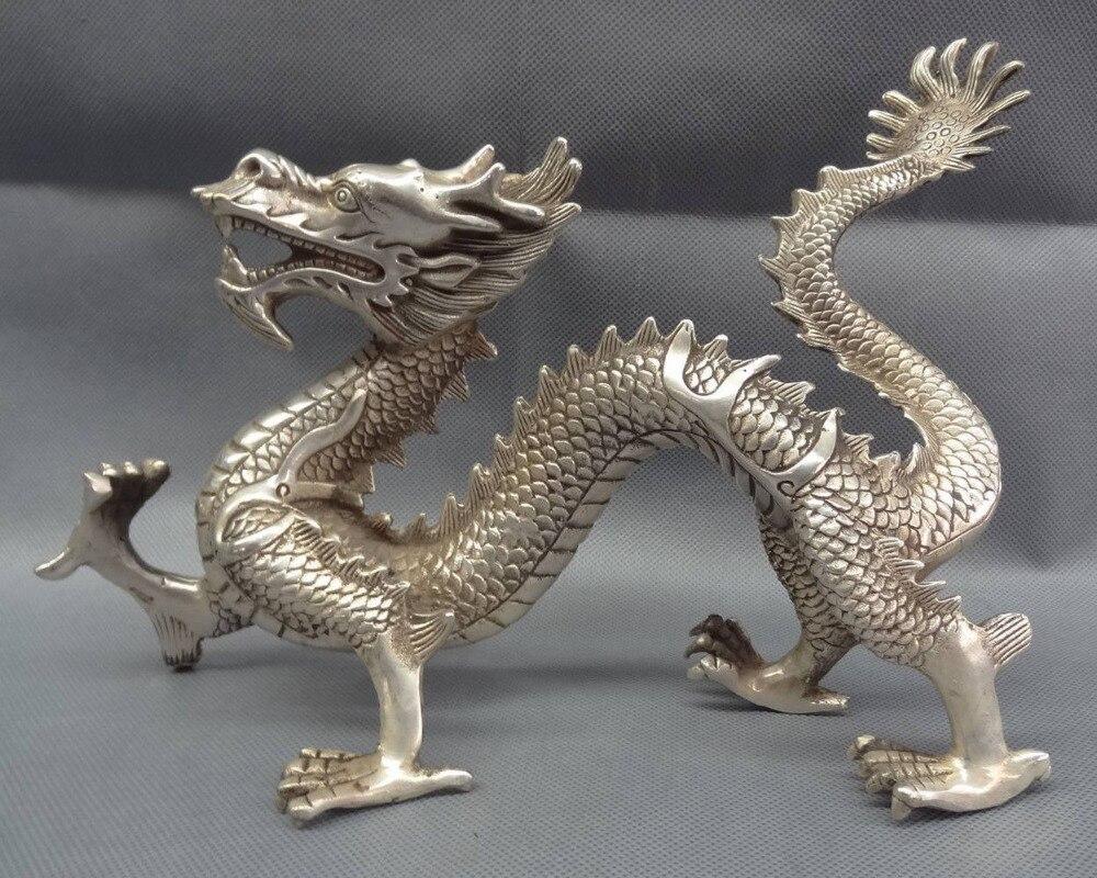 12 Chinese Silver Zodiac Myth Beast Figurine Wealth Fly Dragon Bronze Statue