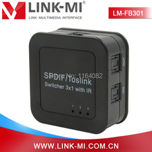 LINK-MI LM-FB301 Black High Quality Optical Fiber Signal SPDIF/Toslink Digital Optical Audio 3×1 Switcher With IR
