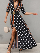 2019 Women Elegant Stylish Long Vacation Leisure Holiday Boho Casual Party Dress Female Dots&Stripes Plunge Slit Maxi