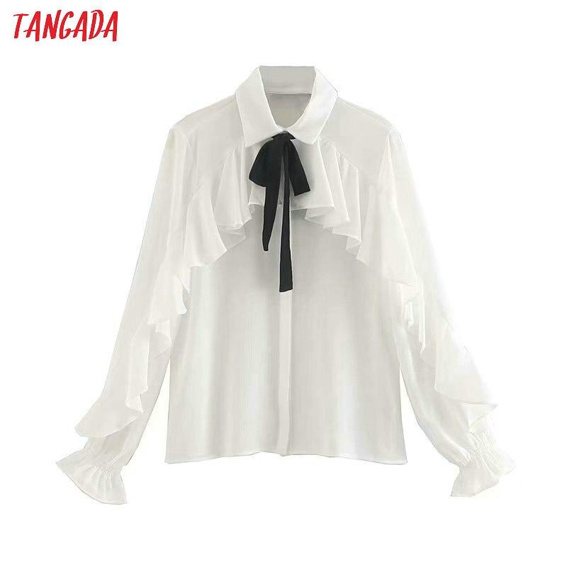 Tangada  Women Ruffle White Shirts Long Sleeve Solid Bow Tie Neck Elegant Office Ladies Work Wear Blouses 5Z22