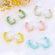 Badu Korean Stud Earrings for Women 2019 Trendy Irregular Candy Color Acrylic Statement Female Jewelry Accessories Gift