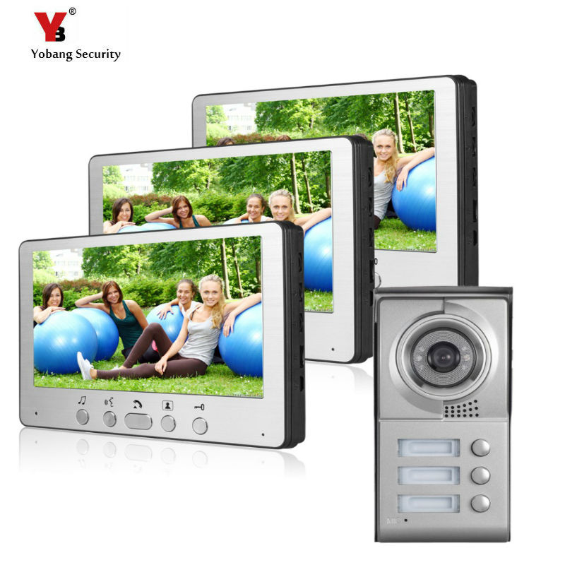 Yobang Security Freeship 7 Color Video Door Phone For Villa Apartment Intercom System Access Camera For 3 House TFT LCD Monitor