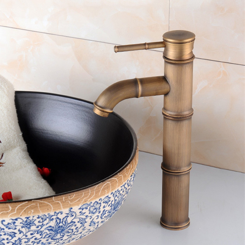 Free shipping Contemporary bathroom antique mixer tap with luxury solid brass bamboo basin mixer tap of hot cold water tapFree shipping Contemporary bathroom antique mixer tap with luxury solid brass bamboo basin mixer tap of hot cold water tap
