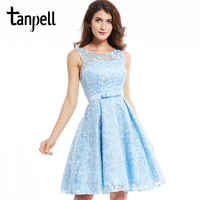 Tanpell A Line Lace Homecoming Dresses Blue Scoop Sleeveless Knee Length A Line Dress Lady Ruched