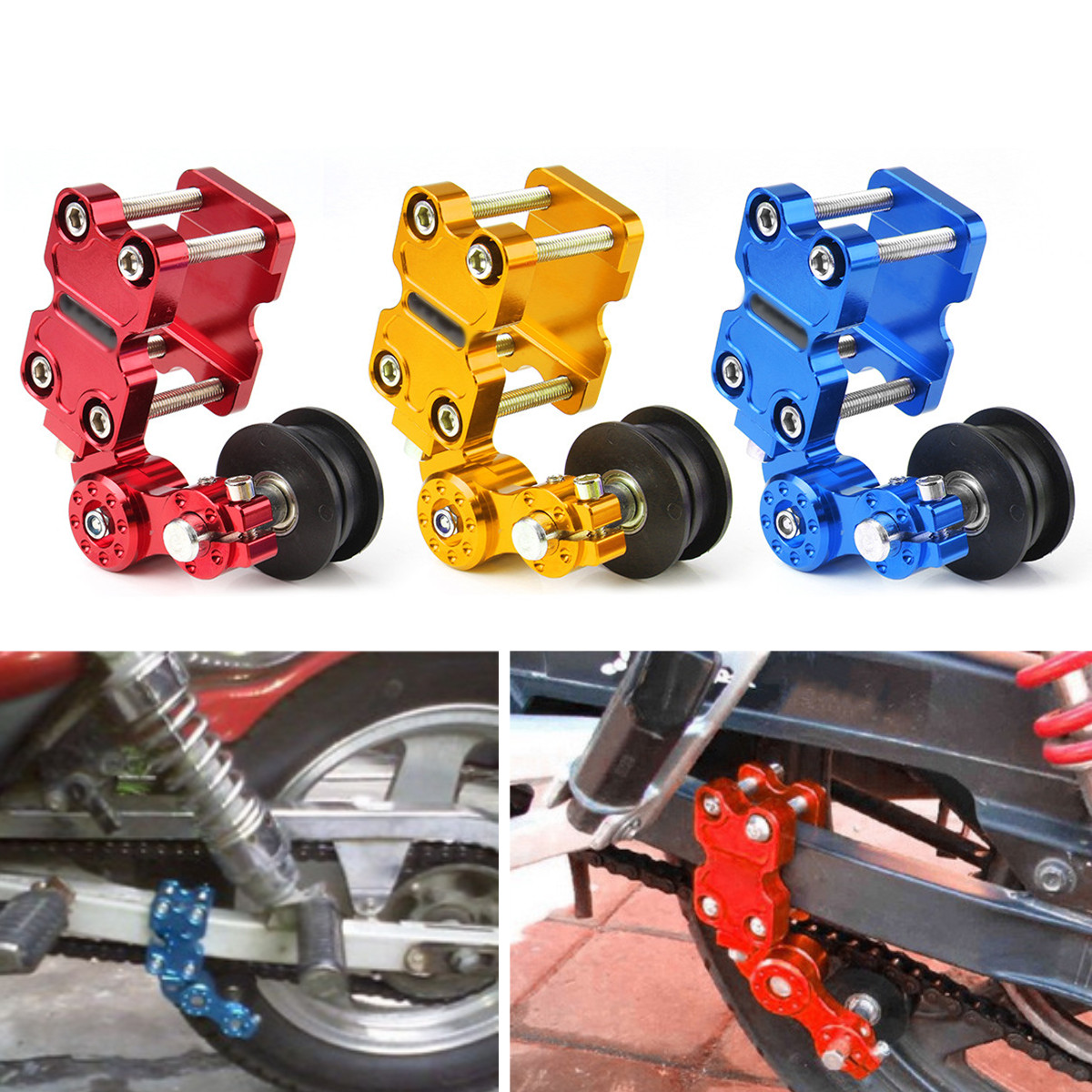 Universal Motorcycle Aluminum Roller Chain Tensioner Adjuster Chain Tensioner bolt Roller 3Color For Dirt Pit Bike ATV 110cc 125cc 140cc aluminum chain tensioner adjuster dirt bike pit atv motorcycle scooter 12mm or 15mm rear wheel axle hole