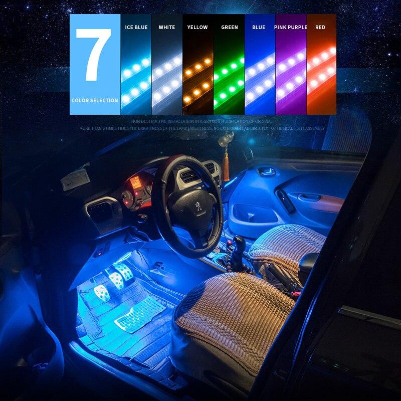 Lampe d'ambiance de lampe de pied de voiture de 12led avec usb/télécommande sans fil/contrôle de musique/lumières décoratives intérieures des véhicules à moteur de modes multiples