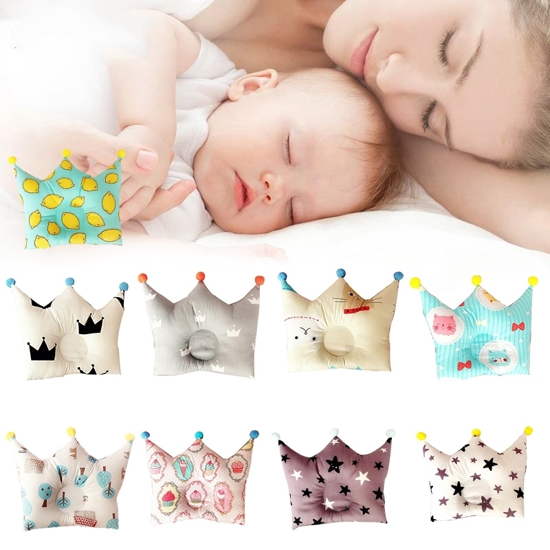 Baby Forming Pillow Cotton Pillow Prevent Flat Head Baby Cute Crown Point Shape Pillow for Newborn Boys Girls Sleeping Bedding