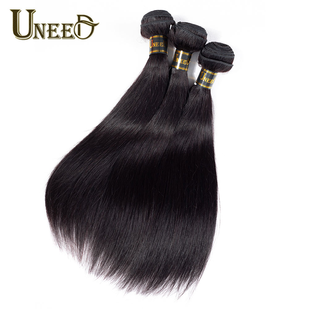 Uneed Hair Peruvian Straight Hair Bundles 100% Human Hair Extensions Double Weft Remy Hair Weave 1 Bundle Can Buy 3 Or 4 Bundles