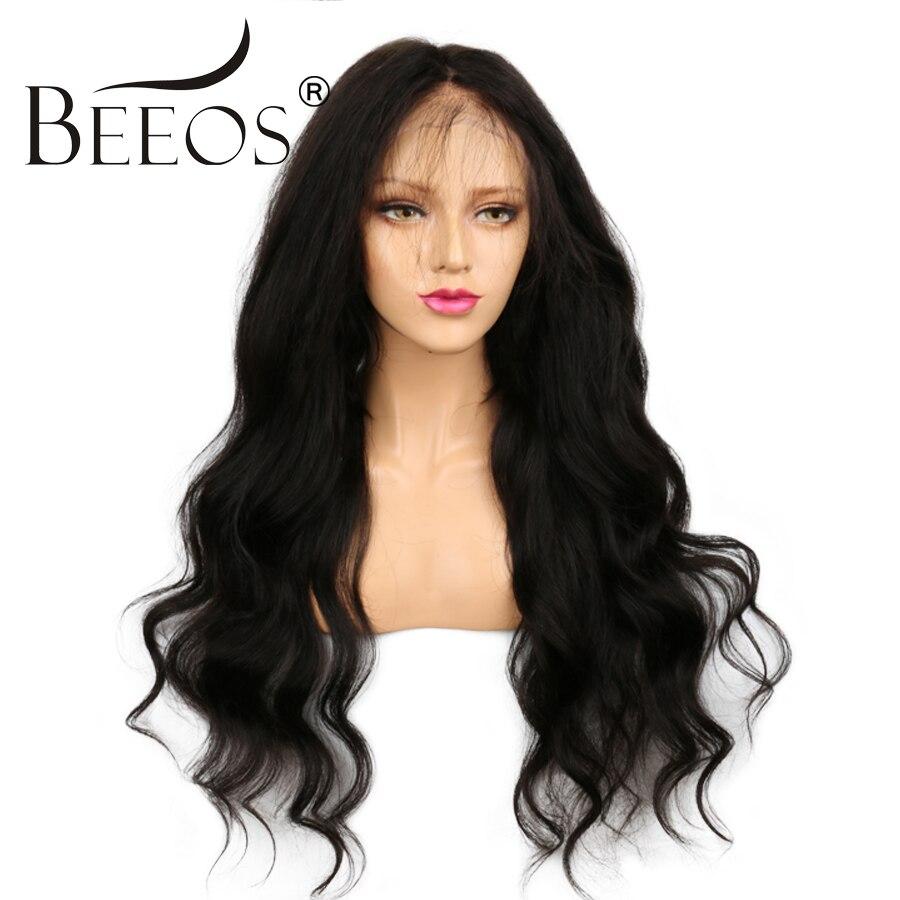 Beeos 13*6 Dentelle Avant de Cheveux Humains Perruques pour les Femmes Partie Profonde Ondulés Longues Perruques avec Bébé Cheveux Brésiliens remy Cheveux Perruques Noeuds Blanchis