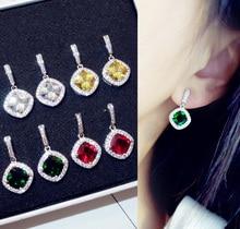 Sparkling Fashion Big Square Royal Blue Green Red Yellow stone Drop Earrings Princess-cut Cubic Zirconia Crystal Women Jewelry