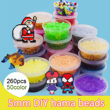 DOLLRYGA hama Beads 5mm 50 colors Perler Rainbow Beads for Kids DIY Pegboard Puzzles Boxed lote High Auality Handmade Girl Gifts