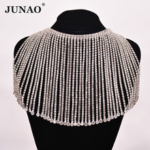 JUNAO 45cm/lot Clear Rhinestone Fringe Glass Crystal Chain Metal Trim Sewn Strass Tassel Clothes Applique for Dress Craft