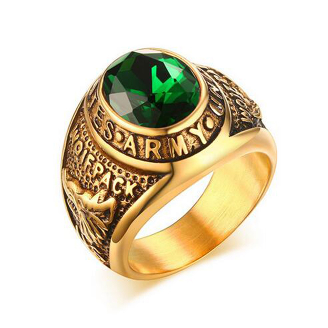Men Quality Green Stone Ring Vintage Gold Color Stainless Steel Army For Boys
