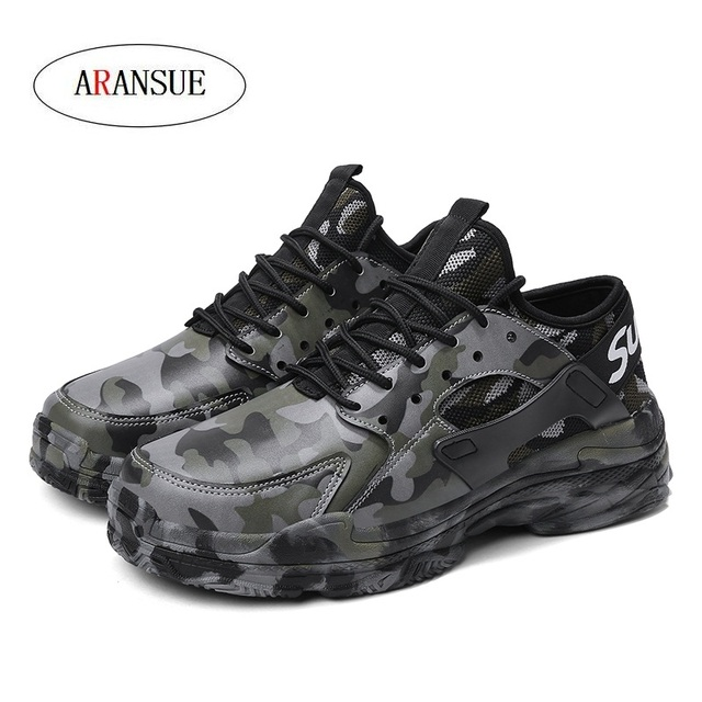 ARANSUE New Men's Leisure sneakers  in Spring Camouflage design Outdoor skid-proof training shoes Breathless and versatile shoes