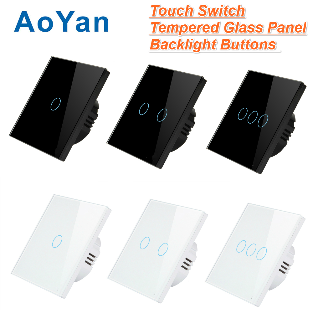 AoYan EU/UK Touch Switch 1 Gang 2 Gang 3 Gang 1 Way Wall Light Touch Screen Switch Crystal Glass Switch Panel white black colors smart home black touch switch crystal glass panel 3 gang 1 way us au light touch screen switch ac110 250v wall touch switches