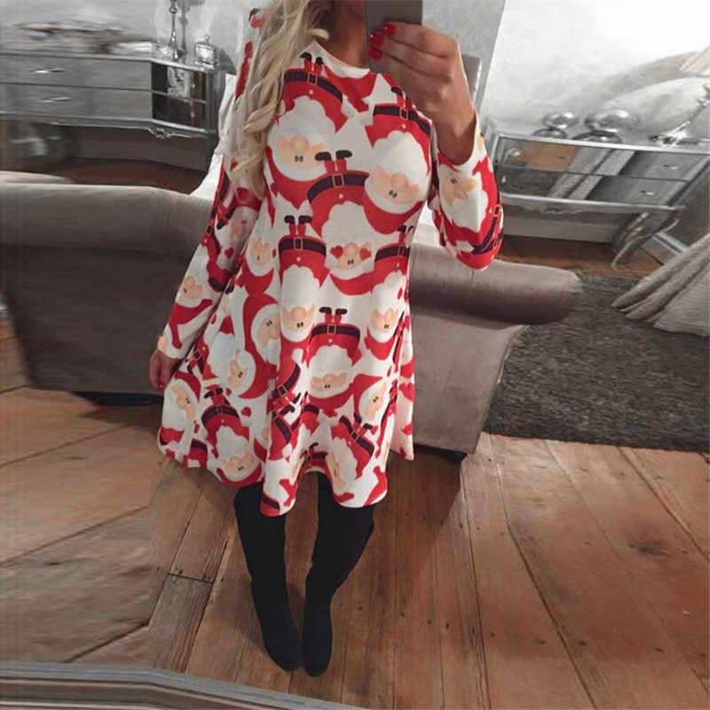 女性クリスマスドレス2017冬ラウンドネック長袖膝丈ドレス雪だるまチョコレート印刷カジュアルドレスプラスサイズ5xl