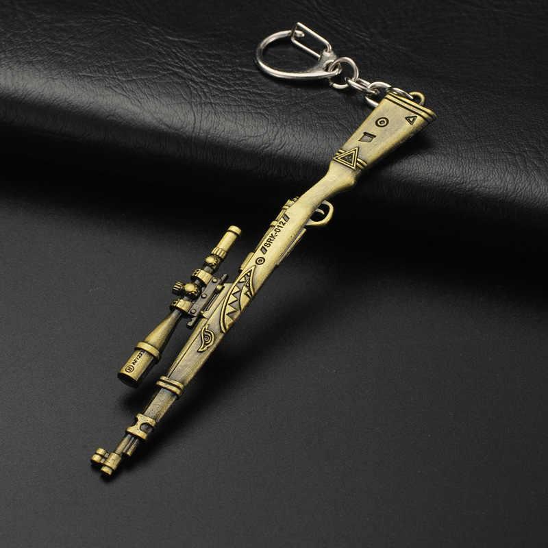 Горячая игра 14 видов стилей PUBG CS GO брелоки в виде оружия AK47 модель оружия Акула 98K снайперская винтовка брелок для мужчин Подарки Сувениры 10 см