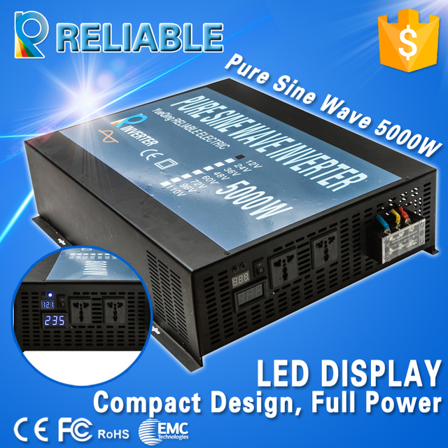 Off Grid LED Display Pure Sine Wave Solar Power Inverter 5000W DC-AC Converter Transformer For Home Generator Solar System