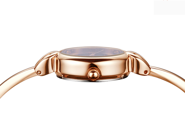 KIMIO Women Bracelet Watch Simple Blue Ladies Dress Watches 2017 Rose Gold Plated Fine Stainless Steel Strip Quartz Wristwatches
