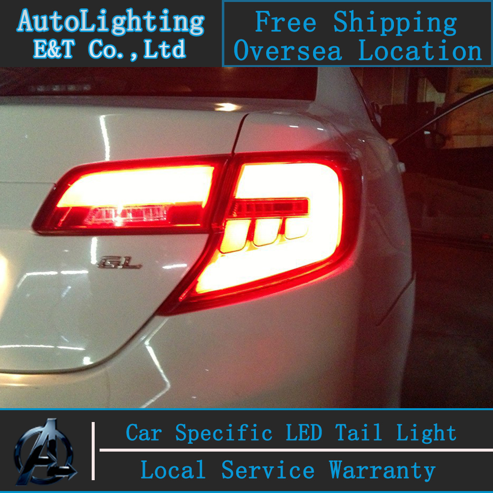 Auto Lighting Style LED Tail Lamp for Toyota Camry tail lights 2012 US version rear trunk lamp cover drl+signal+brake+reverse