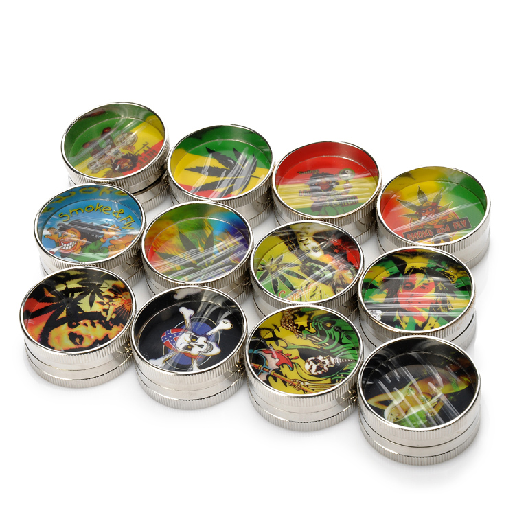1 PCS Hot Mini Herb Grinders 41mm 2 Couches BOB & Leaf & Skull - Marchandises pour la maison