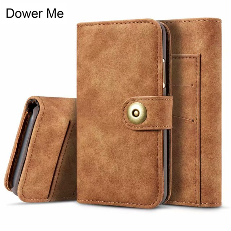 Dower Me Retro Business 2 in <font><b>1</b></font> Magnetic Detachable Flip Wallet Card Slot Leather Case Cover For <font><b>iPhone</b></font> X 8 7 6 6S Plus <font><b>5</b></font> 5S SE image